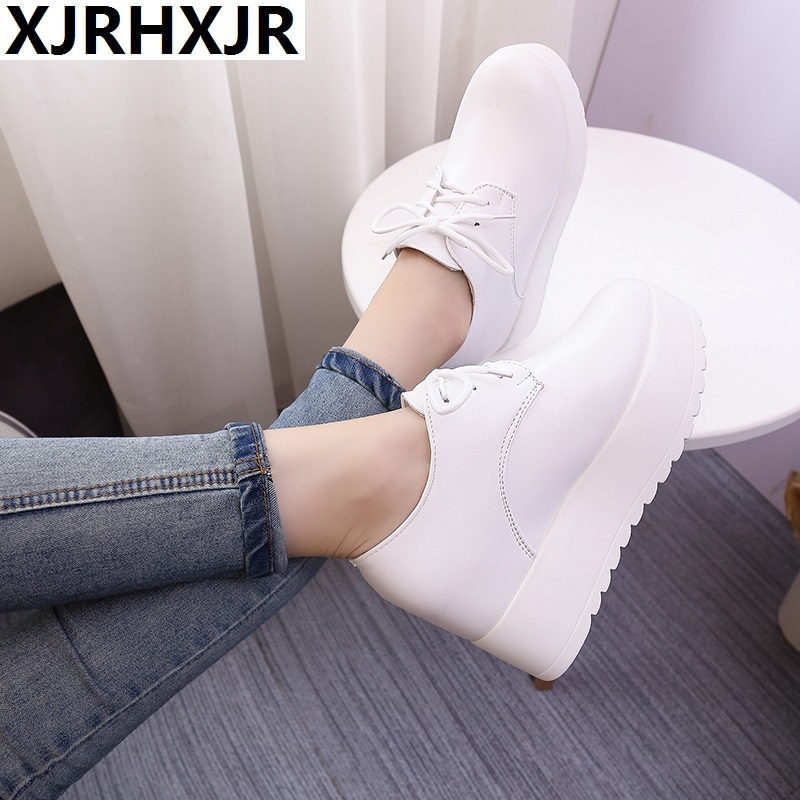 New Spring Autumn Casual Gladiator Women Wedges Platform Lace Up Ladies 34 40 Wedge Heels Shoes Round Toe Leather Shoes in Women 39 s Vulcanize Shoes from Shoes