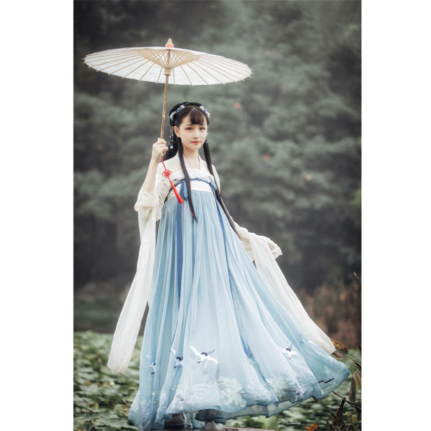 Woman Chinese Traditional Dance Costumes Elegant Fairy Performance Hanfu Embroidery Oriental Tang Ancient Photography Dress