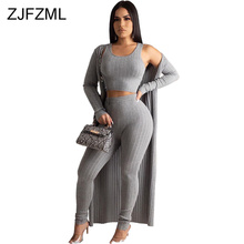 Autumn Winter 3 Piece Matching Set Women Tank Crop Top+Pencil Pant+Maxi Open Stitch Sweatsuits Casual Ribbed Three Piece Outfits