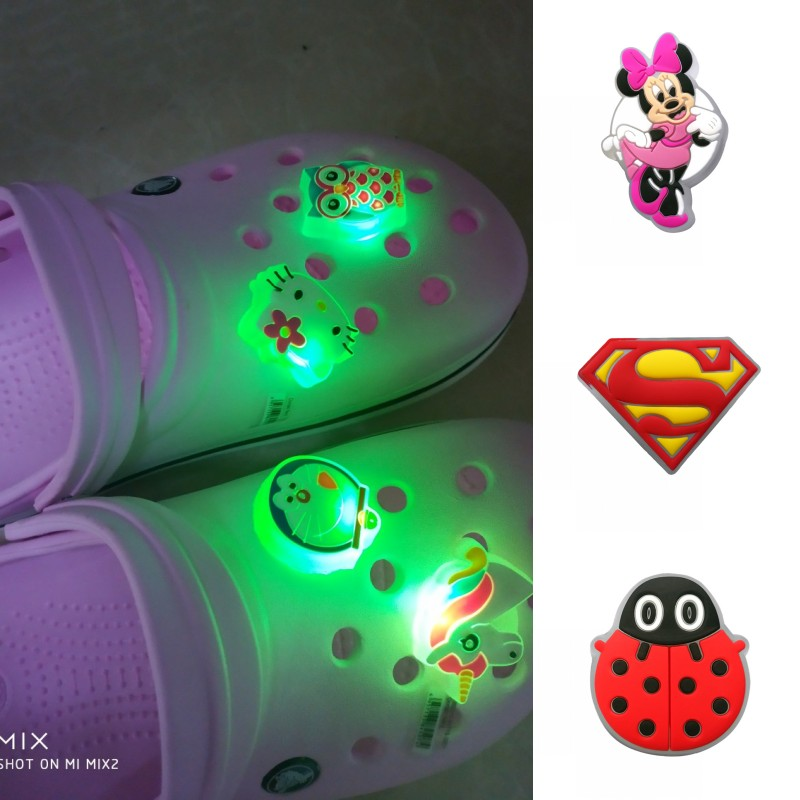 1pc Avengers Mickey Unicorn LED Lighted PVC Shoe Charms Animals Shoe Decoration For Kids Shoes Accessories Croc JIBZ Party Gift