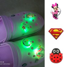 1pc Avengers Mickey Unicorn LED Lighted PVC Shoe Charms Animals Shoe Decoration For Kids Shoes Acces