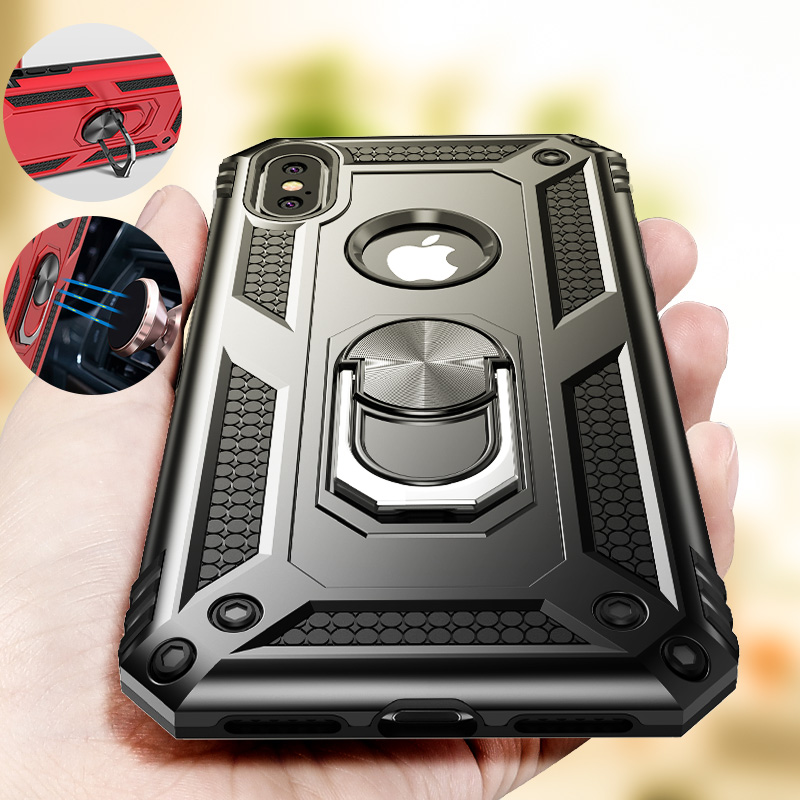 ZNP Shockproof Armor Holder <font><b>Case</b></font> For <font><b>iPhone</b></font> X XS Max XR 7 6 <font><b>Cases</b></font> Magnetic Ring Phone Cover For <font><b>iPhone</b></font> 6 <font><b>6s</b></font> 7 8 Plus Holder <font><b>Case</b></font> image