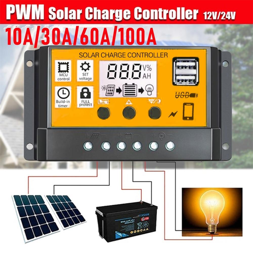 Автоматический контроллер заряда солнечной батареи, 12 В, 24 В, 10/30/100A, USB ЖК-дисплей, ШИМ регулятор заряда батареи
