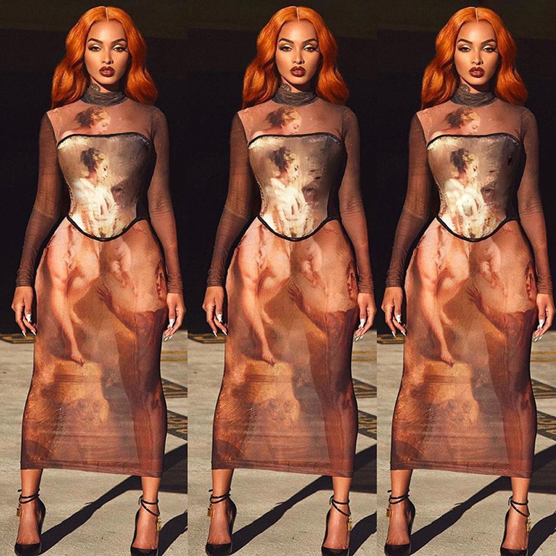 Bodycon Dresses 2020 Sexy Bandage Sleeveless Pencil Vintage Retro Africa Evening Party Long  Dresses Ladies 70s hippie Clothes 5
