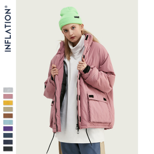 Image 5 - INFLATION 2020 Men Winter Parka Jacket Solid Color Mens Warm Parka Jacket Streetwear 10 Different Color Men Parka Jacket 8761W