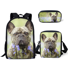 HaoYun Primary Kids Backpack Kawaii Bulldog Pattern School Bag Lively Animal Design 3PC/Set Students Back to Book Bags
