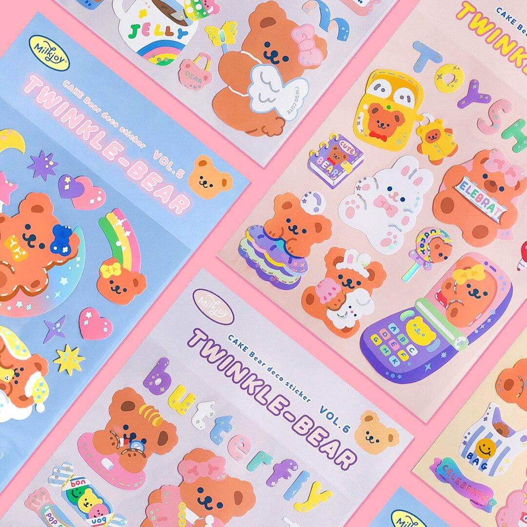 Lovely Rainbow Bear Stickers Scrapbooking Decorative Sticker Korean Diy Diary Album Stick Label Kawa