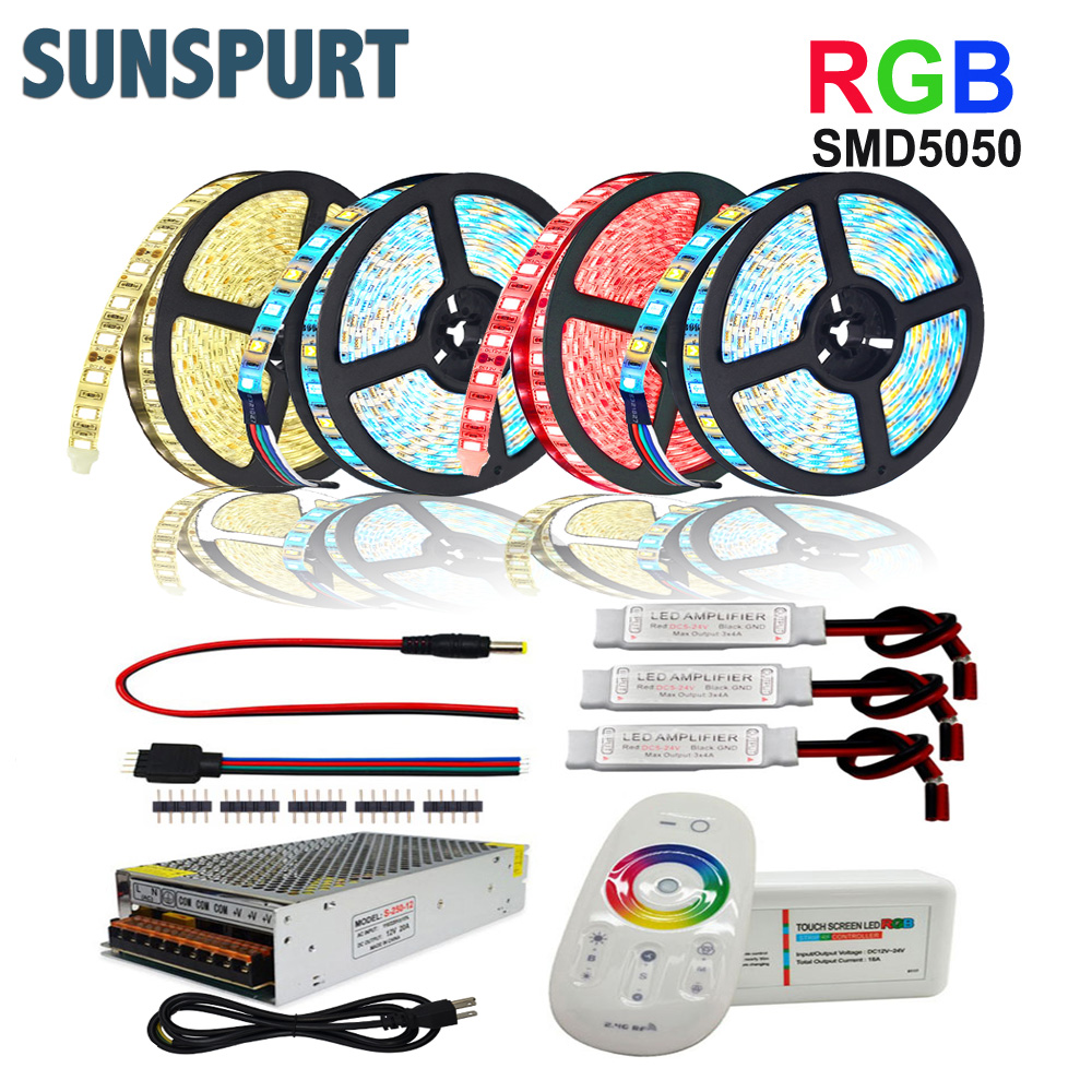 5M-30M SMD 5050 RGBW RGBWW Flexible LED Strip Set With 2.4G Touch RF Remote Controller+12V Power Supply Adapter+Amplifier Indoor image