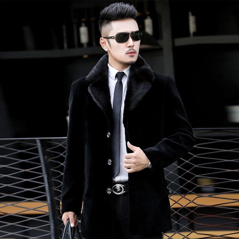 Sheep Shearling Fur Coat Men Autumn Winter Jacket Real Mink Fur Collar Coat Mens Wool Coat Plus Size Veste Homme 17780 YY403