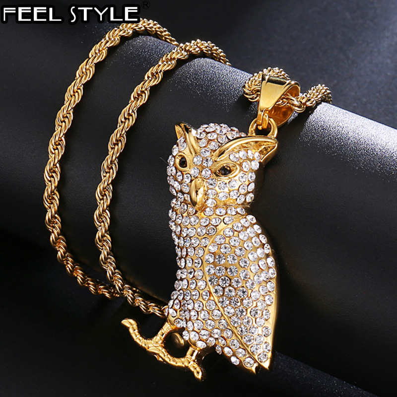 HIP Hop Owl Bling Iced Out Pave Animal Necklaces & Pendants Rope Chain Titanium Necklace for Men Jewelry