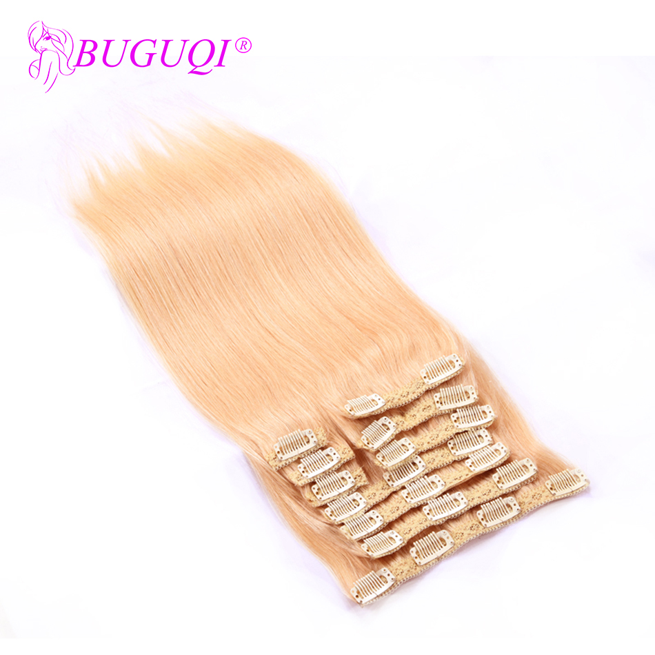 BUGUQI Hair Clip In Human Hair Extensions Mongolian #22 Remy 16- 26 Inch 100g Machine Made Clip Human Hair Extensions