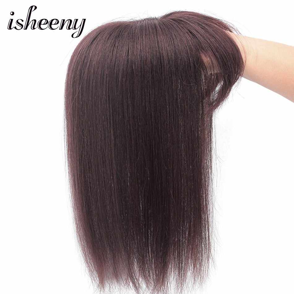 """10"""" 14"""" Black Brown Human Hair Topper Wig For Women 13*13 Lace Base With Clip In Hair Toupee Remy Hairpiece Natural Color"""