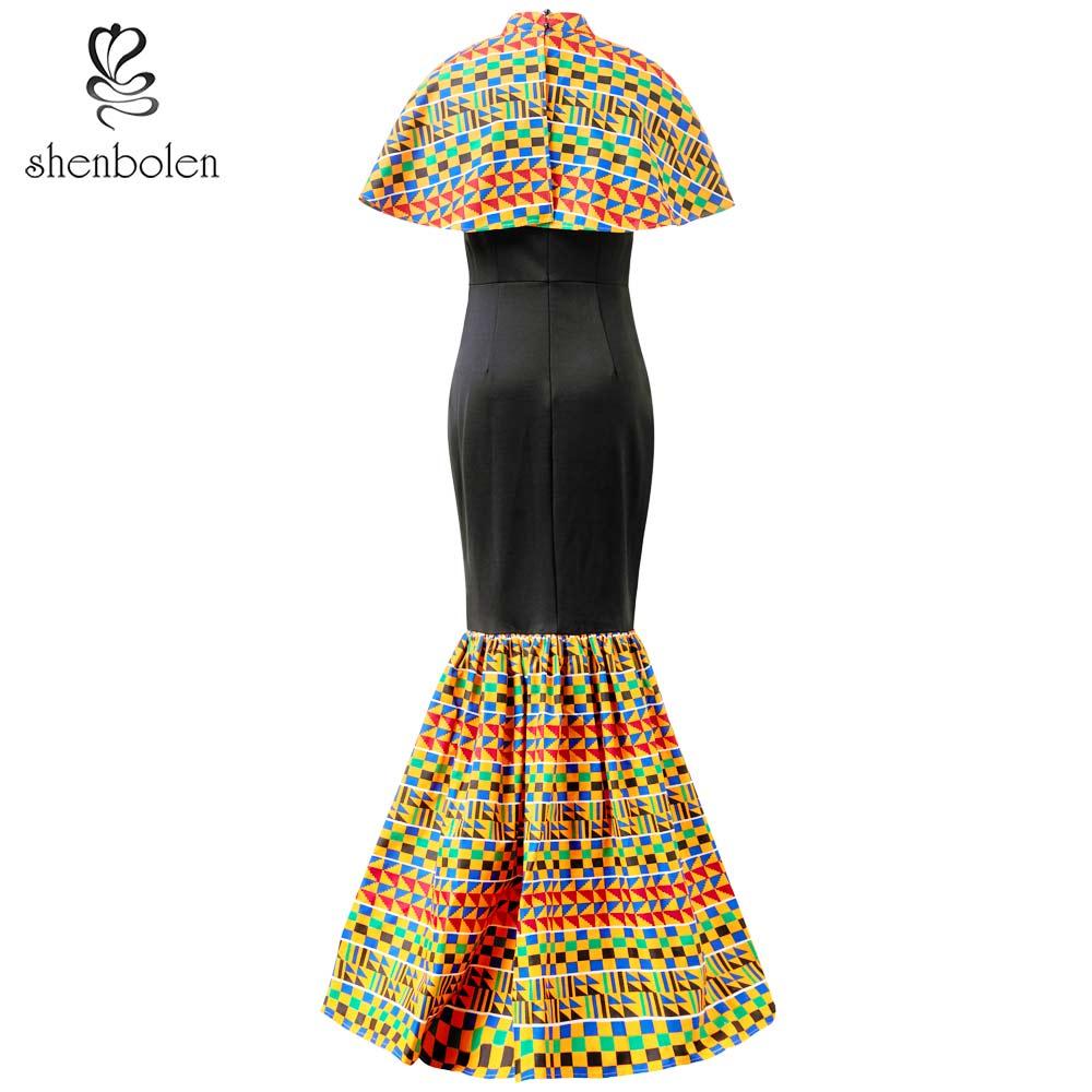 Shenbolen African Dresses For Women New Fashion Elegant Dress Ankara Printing Wax Fabric Ankara Beautiful cape Dress in Africa Clothing from Novelty Special Use