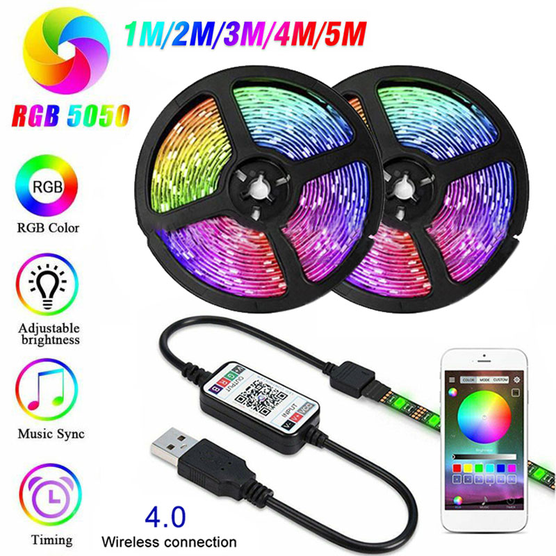 1M 2M 3M 4M 5M RGB LED Strip Lights DC 5V USB TV Back Light 5050 SMD Flexible Tape Led Ribbon Bluetooth APP Intelligent Remote