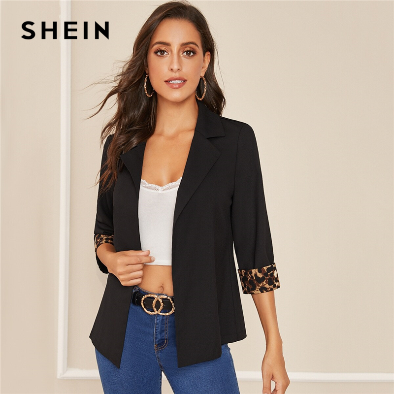 SHEIN Notched Collar Leopard Print Cuffed Sleeve Elegant Blazer Women 2019 Autumn Roll Up Sleeve Office Ladies Blazer Coats