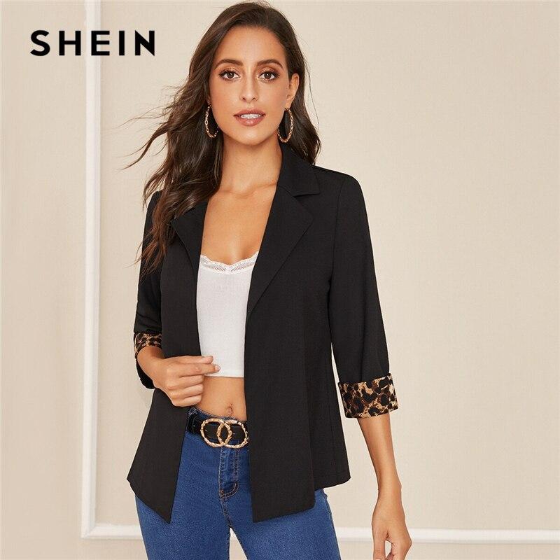 SHEIN Notched Collar Leopard Print Cuffed Sleeve Elegant Blazer  Women 2019 Autumn Roll Up Sleeve Office Ladies Blazer CoatsBlazers   -