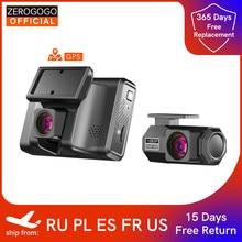 Zerogogo 2k gravador de vídeo do carro dvr com gps duplo traço cam câmera frontal e traseira do traço 24h monitor de estacionamento visão noturna 1080p
