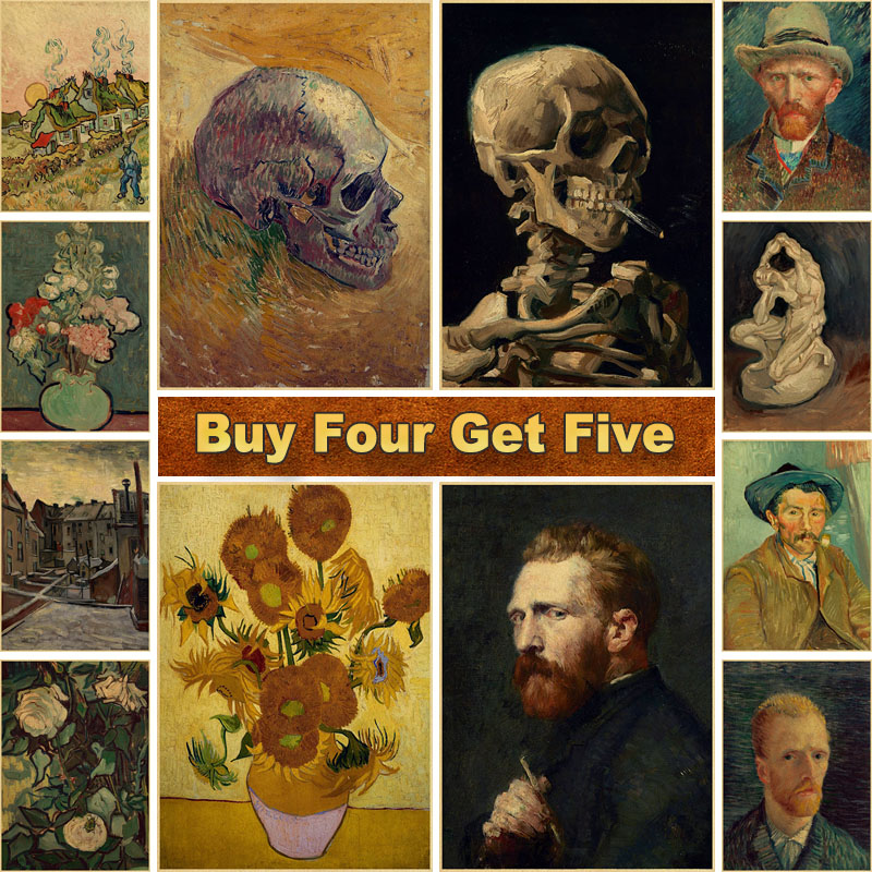 A Collection of Van Gogh Works Kraft Paper Print Painting Posters Wall Pictures for Living Room Classic Art Bar Home Decor