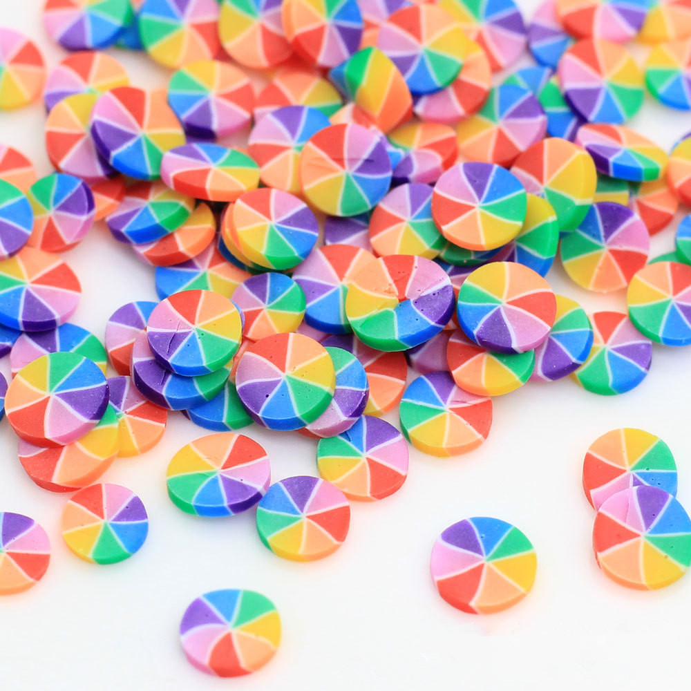 100g/lot Rainbow Round Candy Slice Fimo Polymer Clay Sprinkles For Crafts DIY Nail Arts Accessories Soft Clay Slime Material 5mm