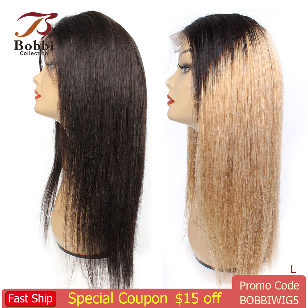 BOBBICOLLECTION 4x4 Lace Front Human Hair Wig 1B/27 Ombre Honey Blonde Pre-Plucked 150% Density Straight Brazilian Non-Remy Hair