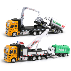19CM Crane Trailer Tow Truck Toy Model 1:48 with Pull Back Garbage Truck Alloy Diecasts Sanitation Vehicle Car Toy for Kids Y194