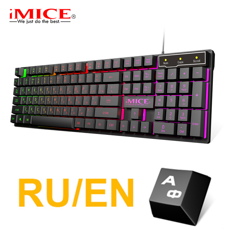 Gaming Keyboard Wired Imitation Mechanical Keyboard Gaming USB <font><b>104</b></font> <font><b>Keycaps</b></font> Russian Gamer Keyboard With Backlight RGB Key Board image