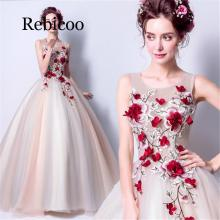 цена на Figure 3D Flower Tulle Long Ms. Dress 2019 New Crimson Flower Embroidered Dress
