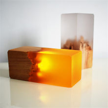 Creative LED Resin Solid Wood Night Light USB Home Decoration Gift Table Lamp Atmosphere Holiday Gift Bedroom Living Room Lamp