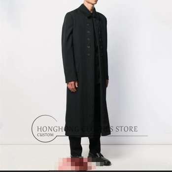 European and American fashionable man loose cardigan new style individuality youth long trench coatBig yards mens clothin
