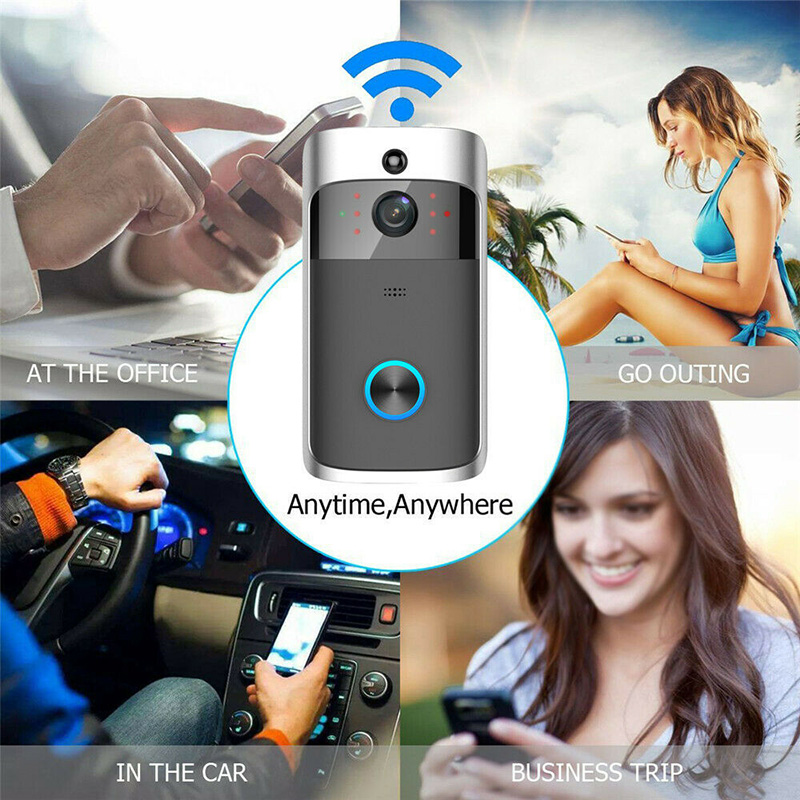 WiFi Smart Video Doorbell HD Security Camera Wireless Intercom PIR Wide-Angle For Home HSJ-19