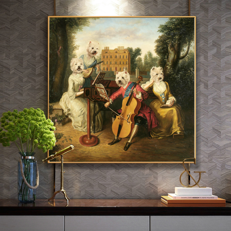 WANGART Dog Animal Play The Piano Oil Painting Poster Wall Picture For Living Room Canvas Print Home Decor image