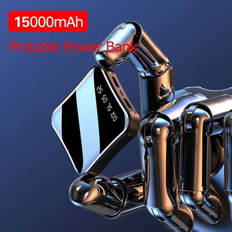 <font><b>15000mAh</b></font> Mini Portable <font><b>Power</b></font> <font><b>Bank</b></font> Full Screen Digital Display Powerbank Fast Charging External Battery for IPhone <font><b>Xiaomi</b></font> Samsung image