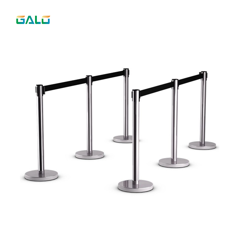 Stainless Steel Fence/Security Cordon/2m Belt Length Pillared Retractable Belt Barrier For Separated Region A Pair