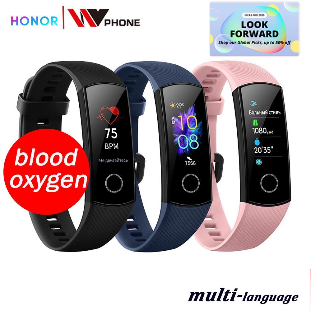 Banda de honra oxigênio no sangue 5 banda inteligente amoled huawe honra relógio inteligente freqüência cardíaca fitness sono natação esporte rastreador