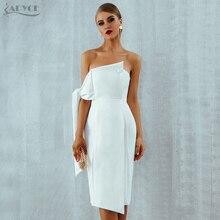 Adyce белые вечерние женские платья знаменитостей новое летнее поступление повседневные Элегантные Клубные платья на одно плечо с пуговицами и кисточками Vestidos