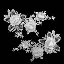 2PCS Luxury White Black 3D Embroidered Lace Patch Dress Blouse Flowers Collar Appliques Fabric DIY Sewing Supplies Guipure Decor guipure lace splicing openwork blouse