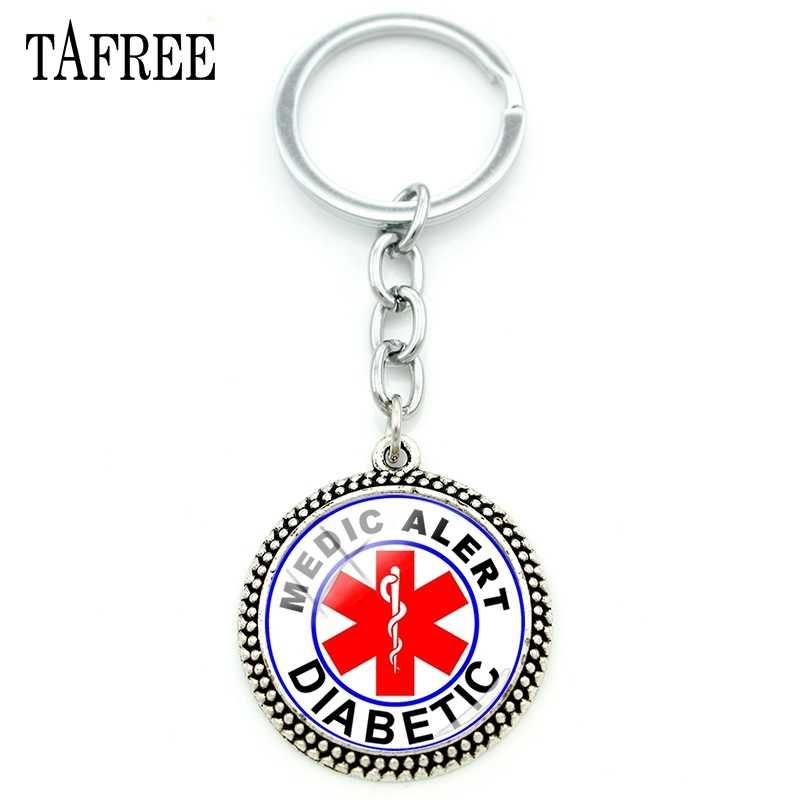 TAFREE רפואי התראת עגול מפתח טבעת עם שרשרת סוכרת חירום זכוכית תליון מפתח מחזיק תכשיטי בריאות מתנה עבור סוכרתי MA52