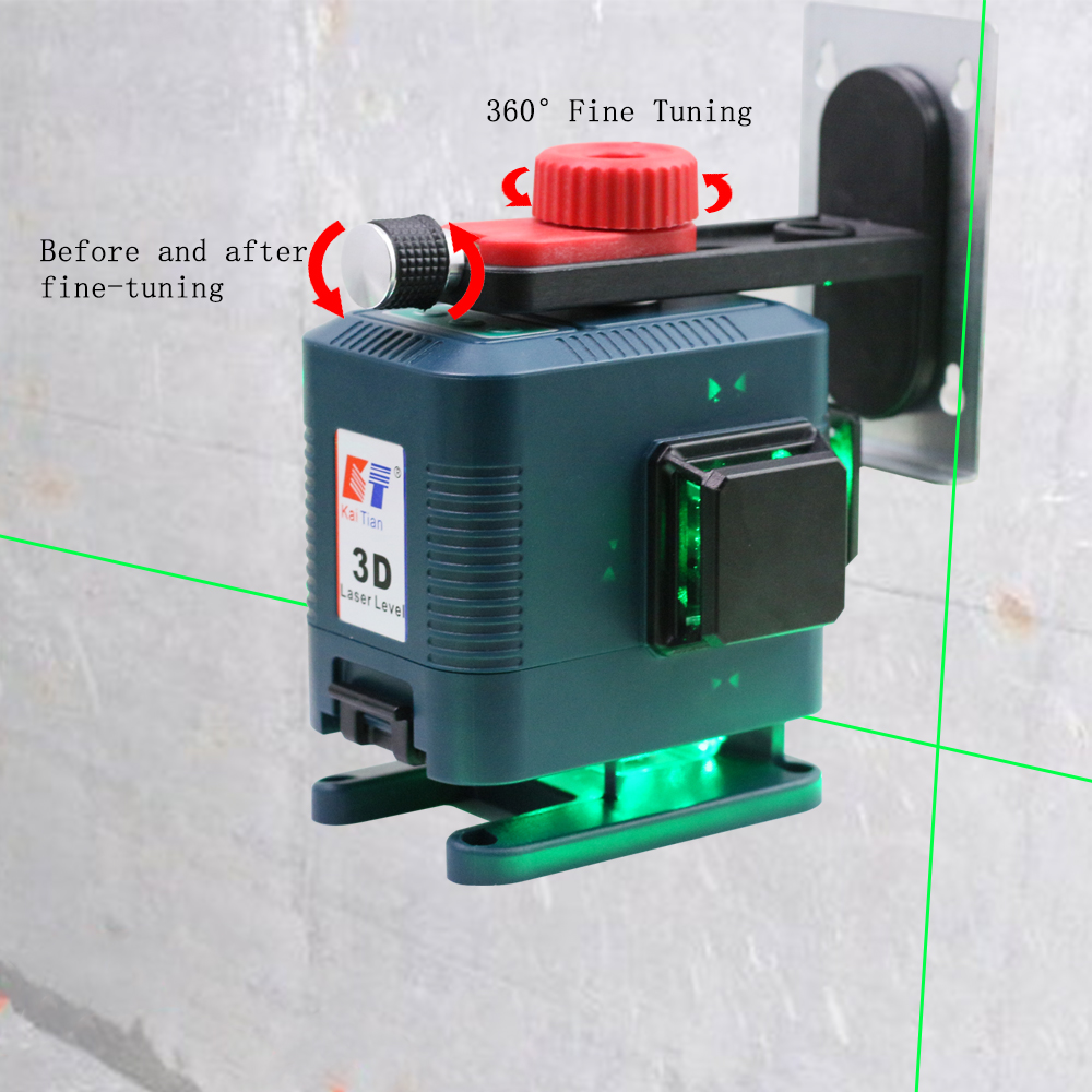 Tools : KaiTian 3D Laser Level Tripod 12Lines Level Self-Leveling 360 Horizontal amp Vertical Cross Powerful Green Receiver Nivel Laser Line