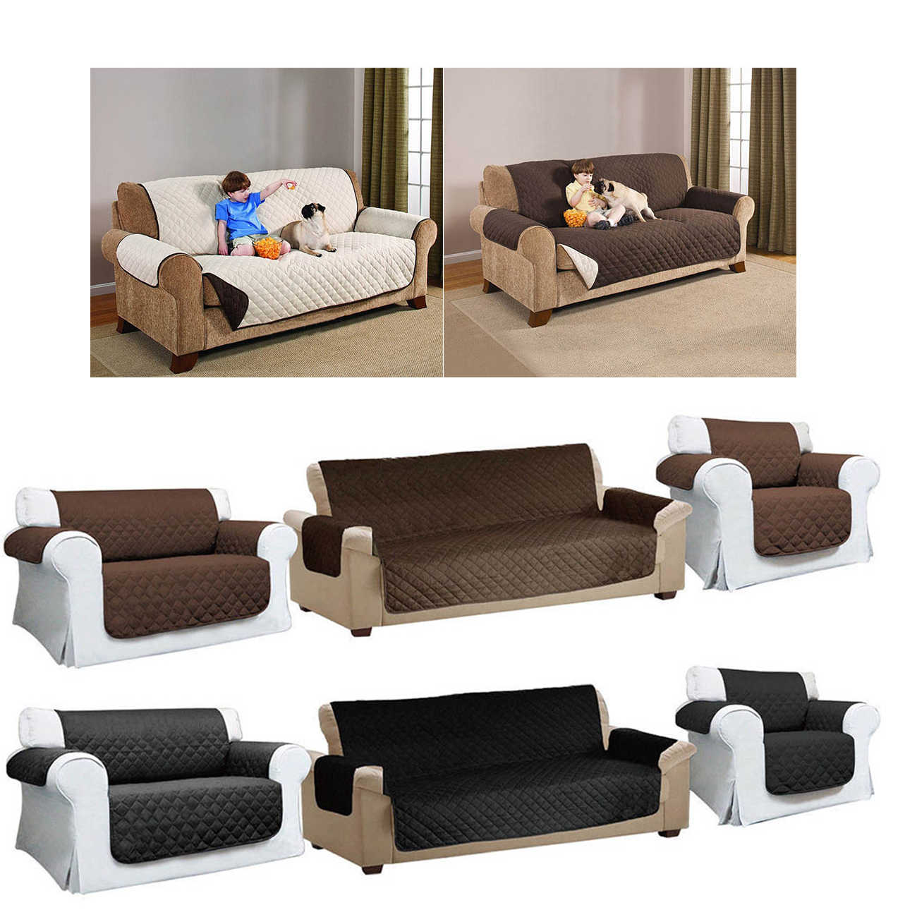 Quilted Sofa Arm Chair Settee Pet Protector Slip Cover Furniture Cushion Throws GQ999