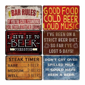 Poster Vintage Bier Teken Bar Club Muur Decoratieve Retro Plaque Pub Platen Ijzer Verf Tin Home Decor 20*30cm