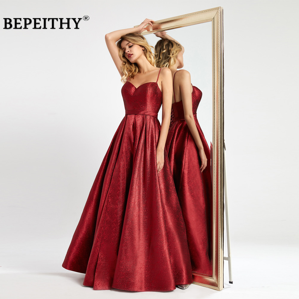 BEPEITHY Vestidos De Fiesta De Noche Red Glitter Long Evening Dress Party Elegant Sexy High Slit Prom Party Gown вечерние платья