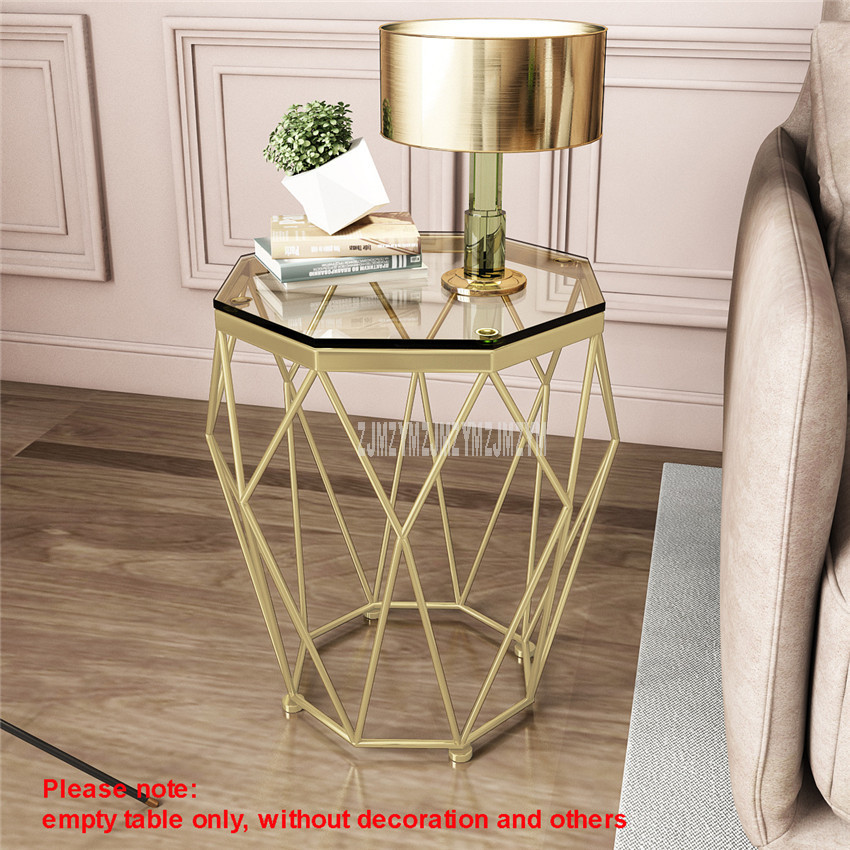 47cm nordique géométrie fer Art Table à thé créatif petit verre trempé bureau fer jambe salon Table mode meubles de maison