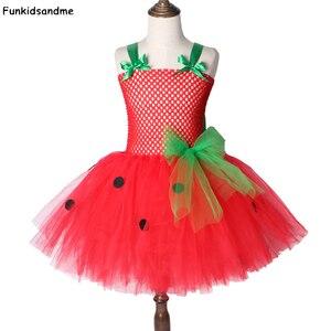 Strawberry Girls Tutu Dress Red Green Tulle Children Girl Party Dress Kids Birthday Christmas Halloween Costume For Girls 2-12Y(China)
