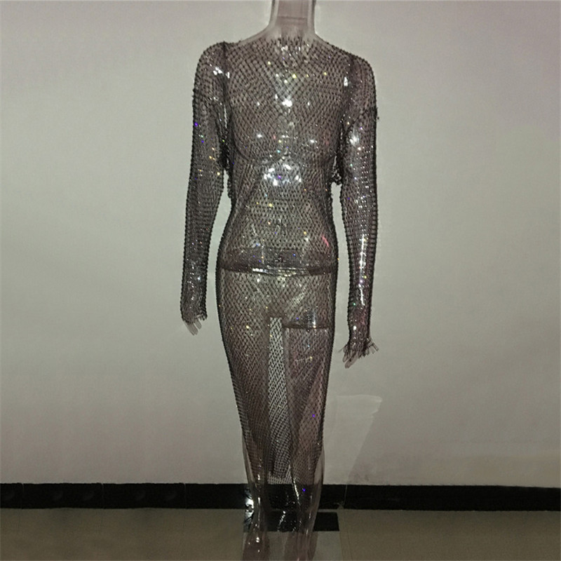 Shiny Rhinestones Grid Long Dress Women Sexy See Through Long Sleeves Fishnet Side Slit Long Dresses Chic Summer Beach Cover Up 5