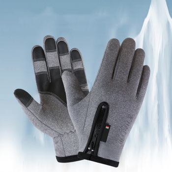 Winter Motorcycle Gloves Cycling Riding Skiiing Gloves Anti-Slip Touch Screen Zipper Windproof Thermal Fleece Full Finger Gloves image
