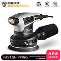 DEKO QD6206R 280W случайная орбитальная шлифовальная машина для древесины, работает с 15 листами наждачной бумаги, пыли, выхлопной и гибридной пыли ...
