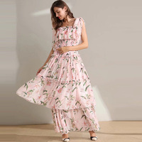 HUAYIMENGYI Summer Elegant Lily Printing Pink Long Dresses Spaghetti Strap Backless Ruffles Sleeveless Women Party Cake Dress