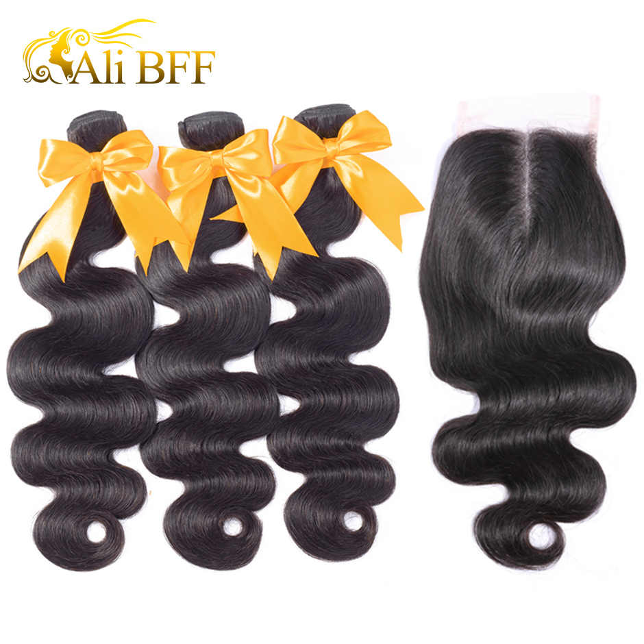 ALI BFF Hair Malaysian Body Wave Bundles with Closure 3 Bundles With Closure 100% Malaysian Hair Bundles with Closure Remy Hair