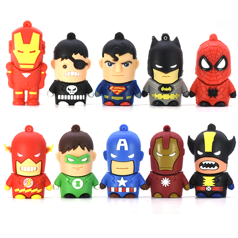 Cartoon Super Hero USB Flash Drive 4GB 8GB 16GB 32GB 64GB Iron Man Pen Drive 128GB Memory Stick Batman Captain America PenDrive