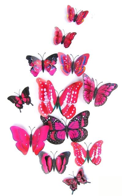 Yellow Orange Pink Butterfly 3D 12Pcs/Set 2